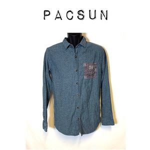 Pacsun On the Byas tribal pocket button down shirt